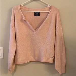Pink V Neck Cropped Cozy Sweater
